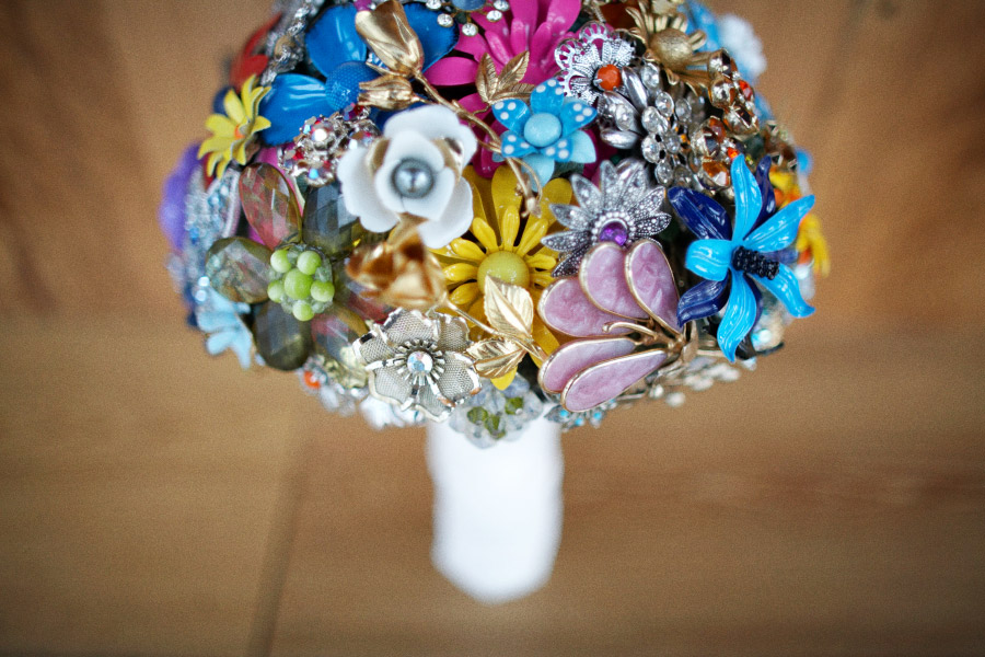 Bright and colourful brooch bouquet